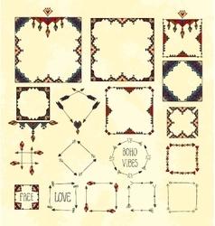 Colorful boho tribal set of frames on gruge vector image