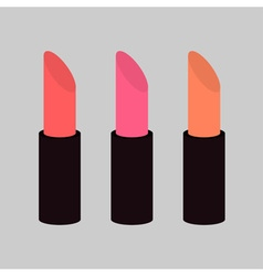 Pink nude lipstick set on gray background isolated vector