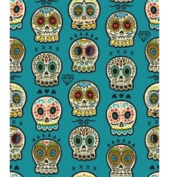 Seamless pattern with sugar skulls Mexican Day of vector image