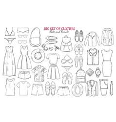sketch monochrome clothes icons set vector image