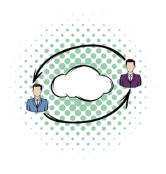 Two men exchange information icon vector