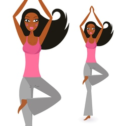afro - american woman in yoga standing pose vector image vector image
