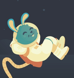 Bunny Relaxing in Space vector image
