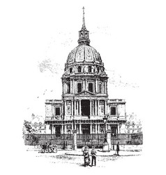Church of the hotel des invalides vintage vector