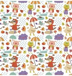 Joyful autumn pattern white vector image vector image