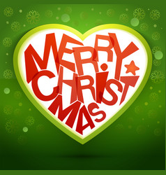 merry christmas heart message at green backdrop vector image vector image