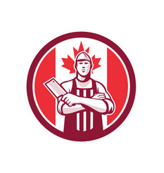 canadian butcher front canada flag icon vector image vector image
