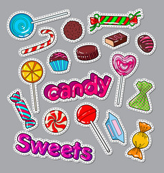 candies sweet food doodle stickers badges vector image