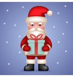 Cartoon santa claus toy character hold present vector