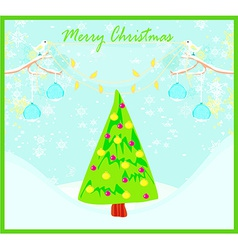 Christmas card with doves and mistletoe vector image vector image
