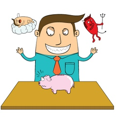Evil man with piggy bank vector image vector image