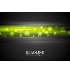 Green glowing stripes and gears vector image vector image