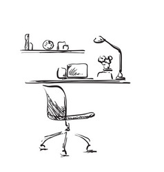 hand drawn workplace chair and computer sketch vector image vector image