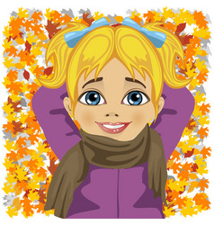 little girl lying on autumn leaves vector image