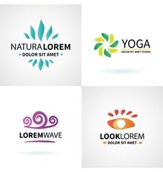 Set of natural spa yoga wellness meditation vector image vector image
