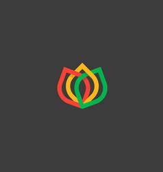 color flower logo icon design elegant crown line vector image