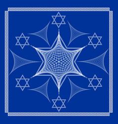 david star white drawing on dark blue background vector image
