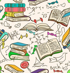 Doodle seamless pattern of books and childrens vector image