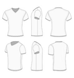 Mens white short sleeve t-shirt v-neck vector