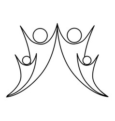 monochrome abstract contour of happy family vector image
