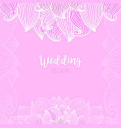 Pink wedding romantic card with waves vector