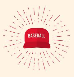 red baseball cap icon vector image