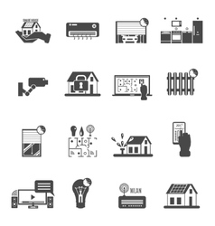 Smart House Black White Icons Set vector image vector image