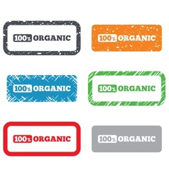 100 percent organic sign Natural food symbol vector