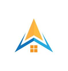 abstract home roof arrow biisness logo vector image