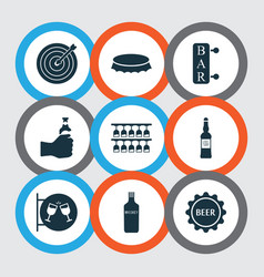 Alcohol icons set with nightclub drink vodka and vector
