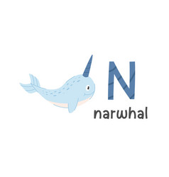 alphabet letter n and narwhal vector image