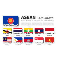 asean flag association southeast asian vector image