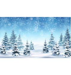 Background with falling snow and forest vector