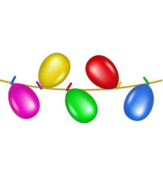 Balloons hanging on rope vector