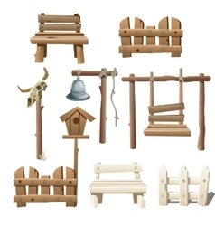 Big set of wooden objects design ranch village vector image vector image