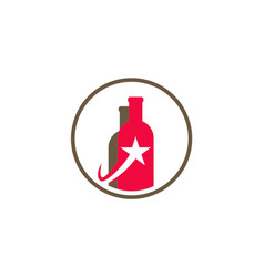 bottle wine star logo vector image