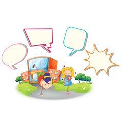 boy and girl with speech balloon vector image