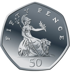 British money silver coin 50 pence vector