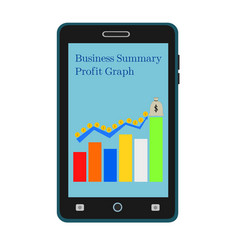 Business smartphone growth graph vector