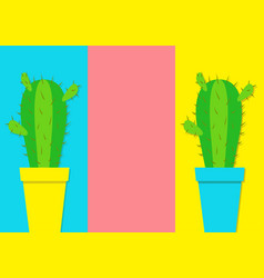 Cactus icon in flower pot icon set minimal flat vector