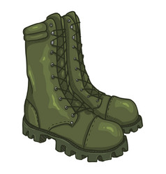 Cartoon army boots high military shoes vector