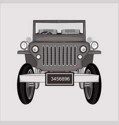 Cartoon jeep retro classic vector