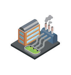 Chemical plant isometric 3d element vector