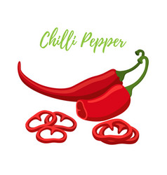 Chilli pepper slices red spicy condiment vector