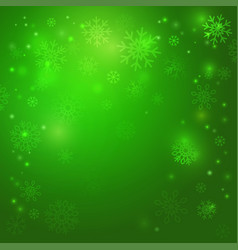 Christmas green background with snowflakes vector