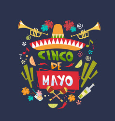Cinco de mayo background mexican holiday greeting vector