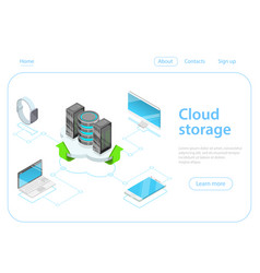 cloud storage flat isometric concept vector image