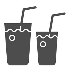 Cocktail glasses solid icon two beverages vector