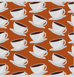 coffee cups on dishes aroma pattern design vector image