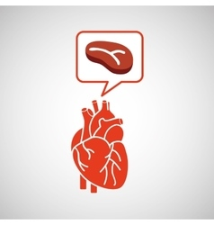 Concept healthy heart meat eating icon vector